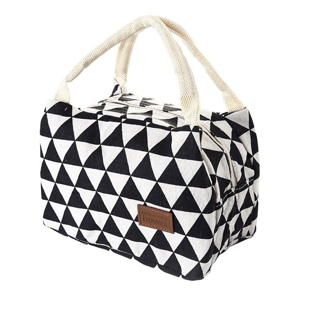 Korean Style Triangular Lattice Thickened Lunch Bags Keep Warm/Cool Bento Pearl Handbag