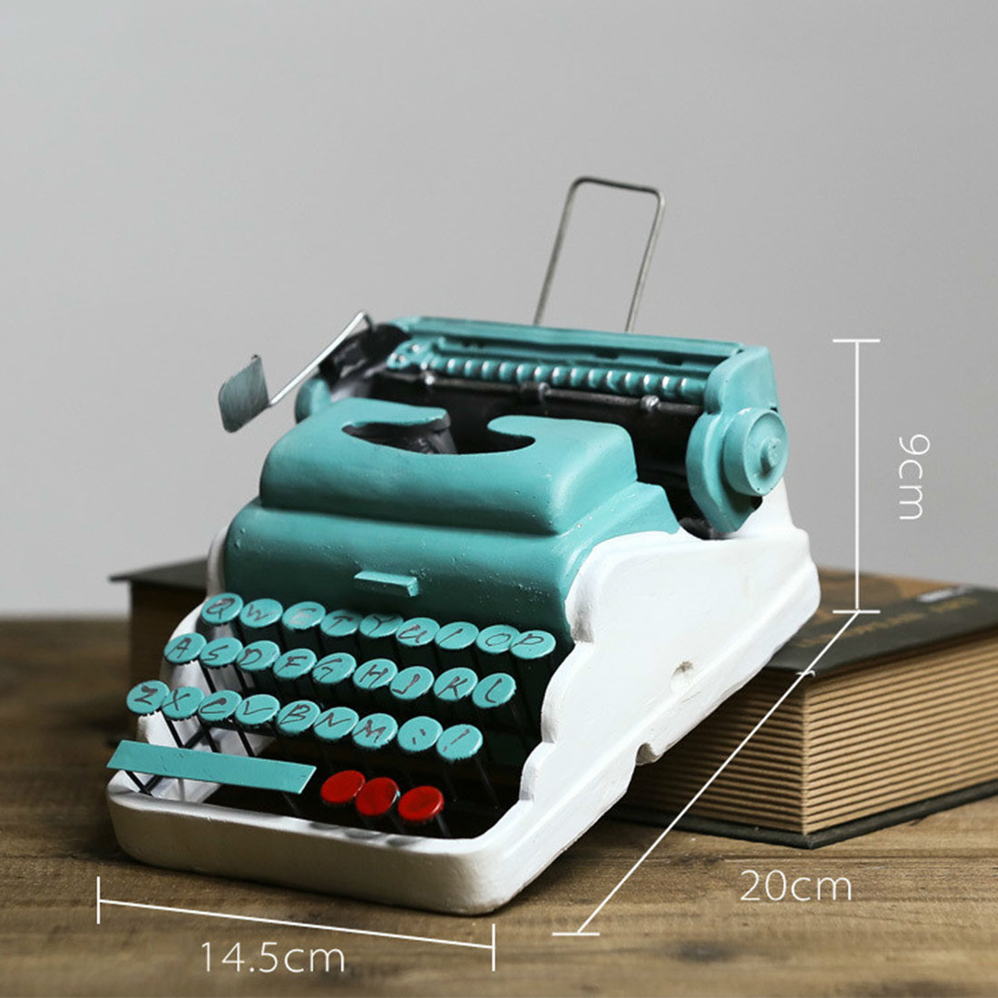 Retro Metal Typewriter Model Vintage Handicrafts Antique Typing Machine Home Bar Decoration Crafts Creative Gift - D Type Blue