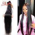 Прямые пряди волос Queenlife, бразильские пупряди волос, 100% человеческие пучки волос, 30 32 34 36 38 40 дюймов, волосы без повреждений, 1/3/4 шт.