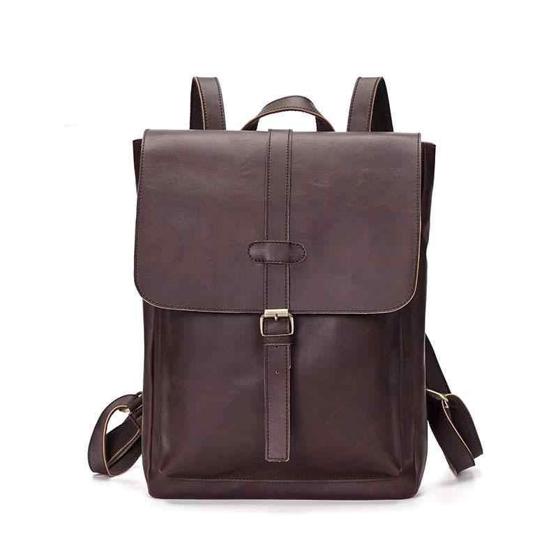 Фото Простой лоскутный Большой Вместительный мужской кожаный рюкзак для путешествий