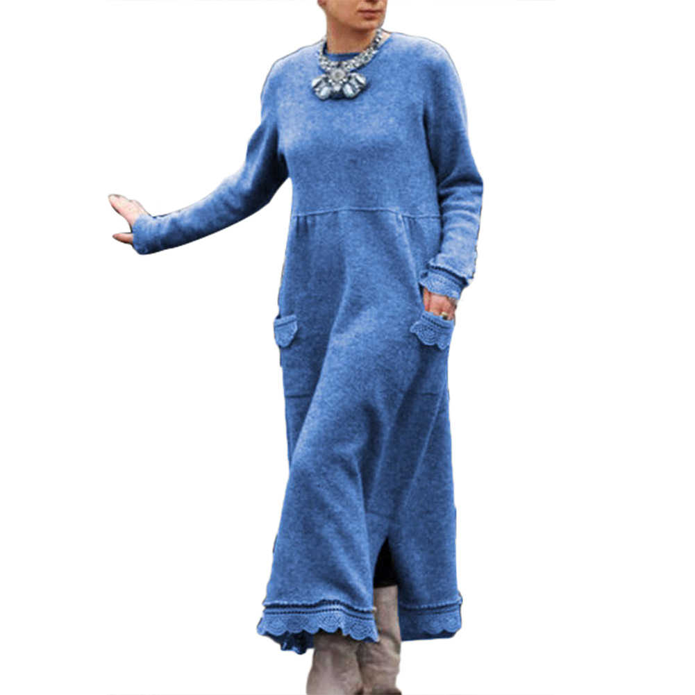 vintage pullover kleid frauen herbst winter langarm spitzen