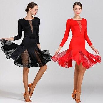 Latin Dance Costume For Women Sexy Tango Salsa Cha Cha Ballroom Practice Dance Wear Black Red Samba Rumba Dancing Clothes
