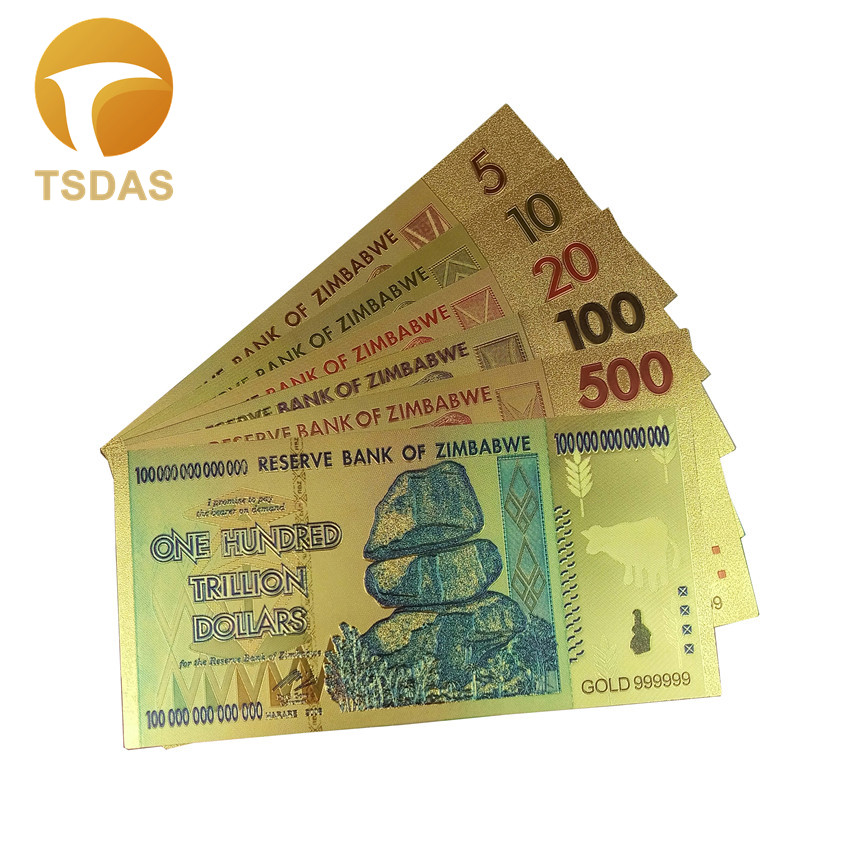 Full Set(5pcs) Zimbabwe Dollar Bills 24k 999.9 Gold Plated Fake Money For Home Decor Banknote Drop Shipping