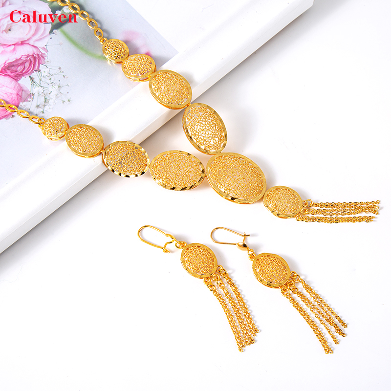 Arabic Jewelry Dubai Jewelry Set for Women Ethiopian Jewelry sets African Earrings Sets Gold Color Necklace Bridal Jewelry