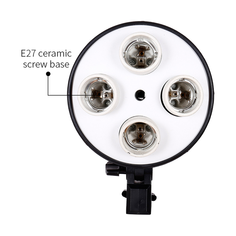 E27 Base Four Lamp Holder  Light Bulb Use For Softbox Kit  4 In 1 For Photo Photography Studio