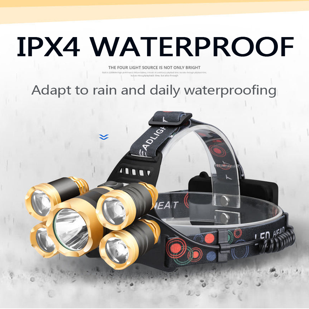 Powerful LED Headlamp Fishing Headlight  3/5 LED T6 Head Lamp with Sensor Waterproof Camping Head Torch Powered By 18650 Battery 5