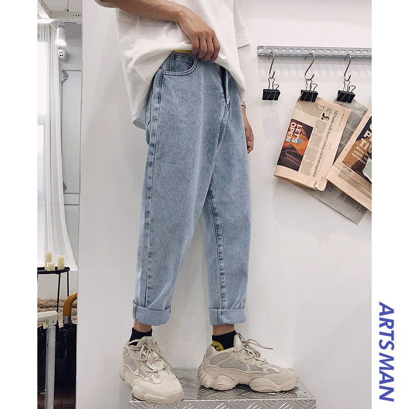 Spring And Summer New Style Capri Straight-Cut Jeans Korean-style Trend Pants Men Loose Casual Loose Pants