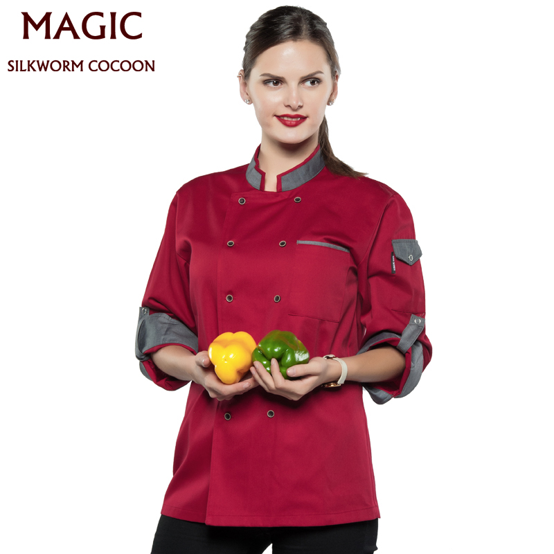 Chef Tops Long Sleeve Restaurant Uniform High Quality Workwear Clothes Master Cook Restaurant BBQ Kitchen Hotel Chef Uniform