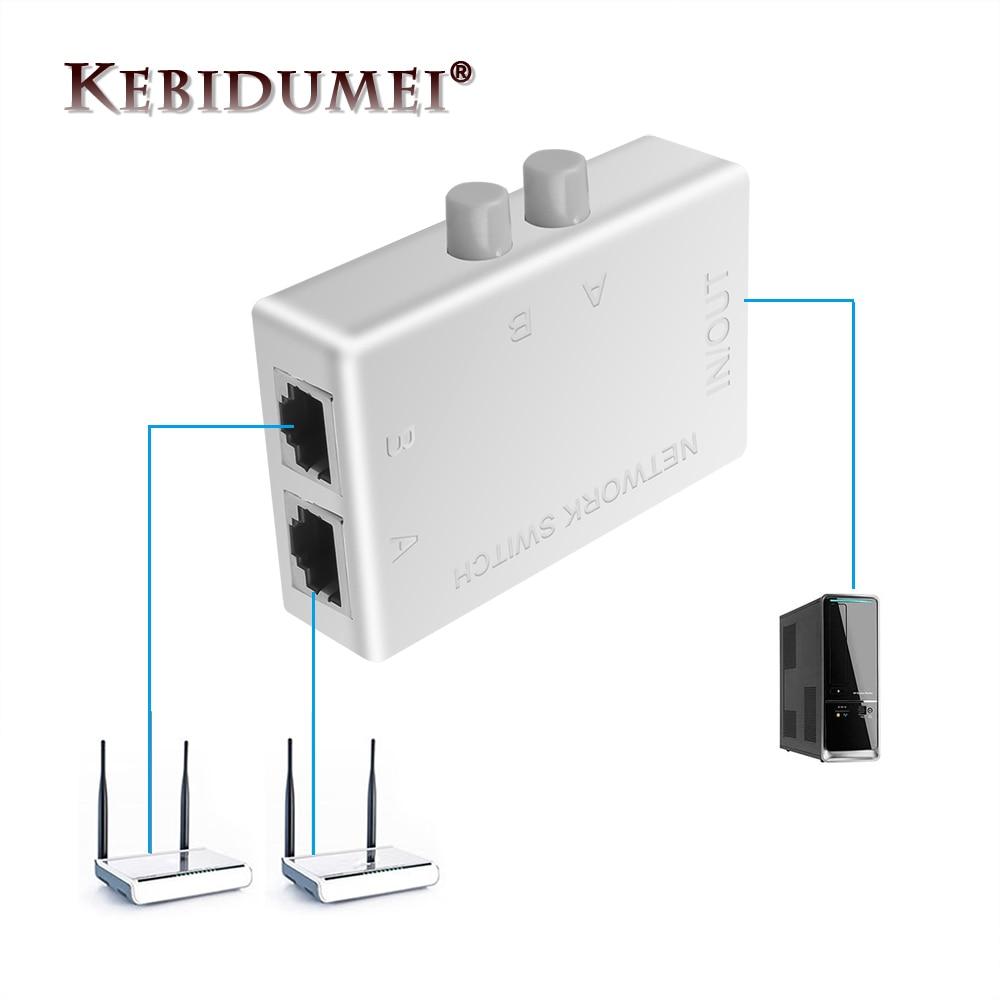 Мини-коммутатор Kebidumei с 2 портами RJ45, сетевой коммутатор, сетевой коммутатор Ethernet, двойной 2-канальный порт, ручной коммутатор-концентратор д...