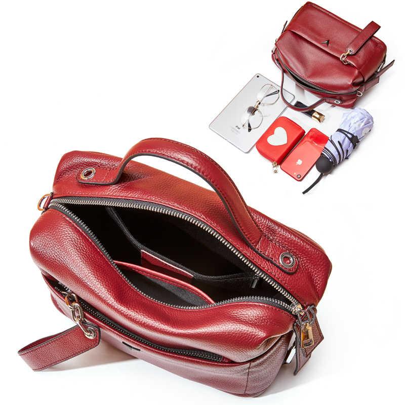 Echtem Leder Boston Frauen Handtasche Weiche Leder Weibliche Schulter Tasche Geräumige Frauen Umhängetasche Top-Griff Frauen Kissen Taschen