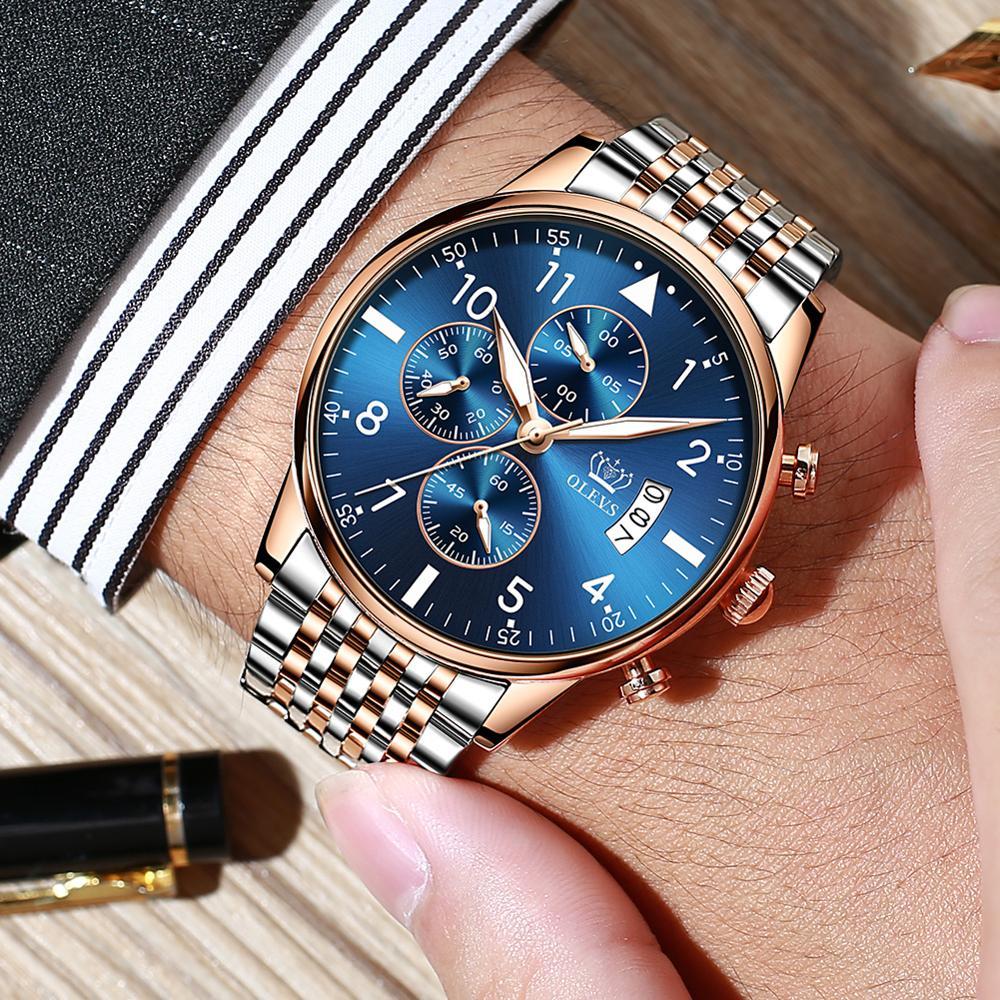 Chronograph Men Watch Luxury Full Steel Waterproof Business Man Quartz WristWatch Top Brand Luminous Relogio Masculino With Date