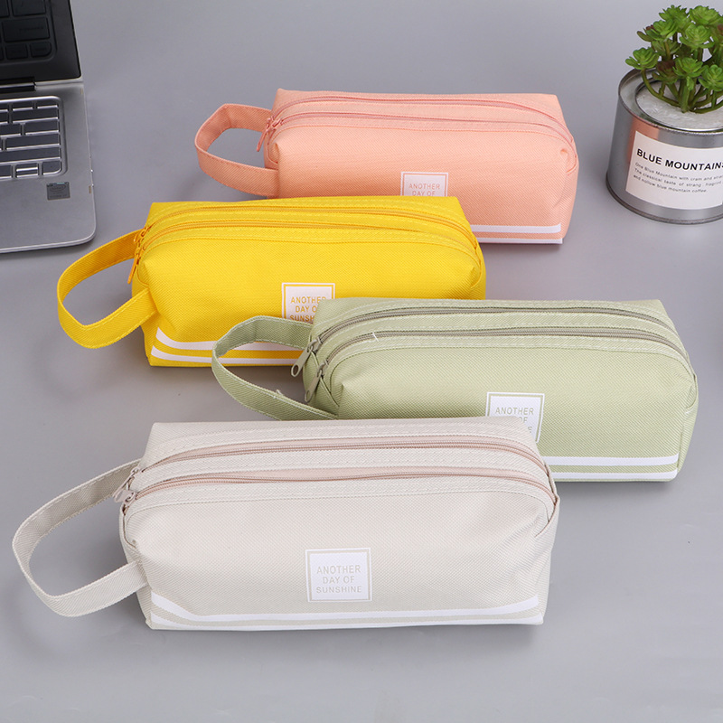 Large Double Zipper Pencil Case Cute Clear PencilCase Kawaii Bag School&Office Stationery Supplies For Girls Canvas Pencil Box