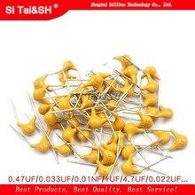 100 pièces 50V condensateur céramique monolithique 10PF ~ 10UF 22PF 47NF 220NF 1NF 4.7UF 1UF 100NF 330NF 0.1UF 102 104 105 106 103 473 334