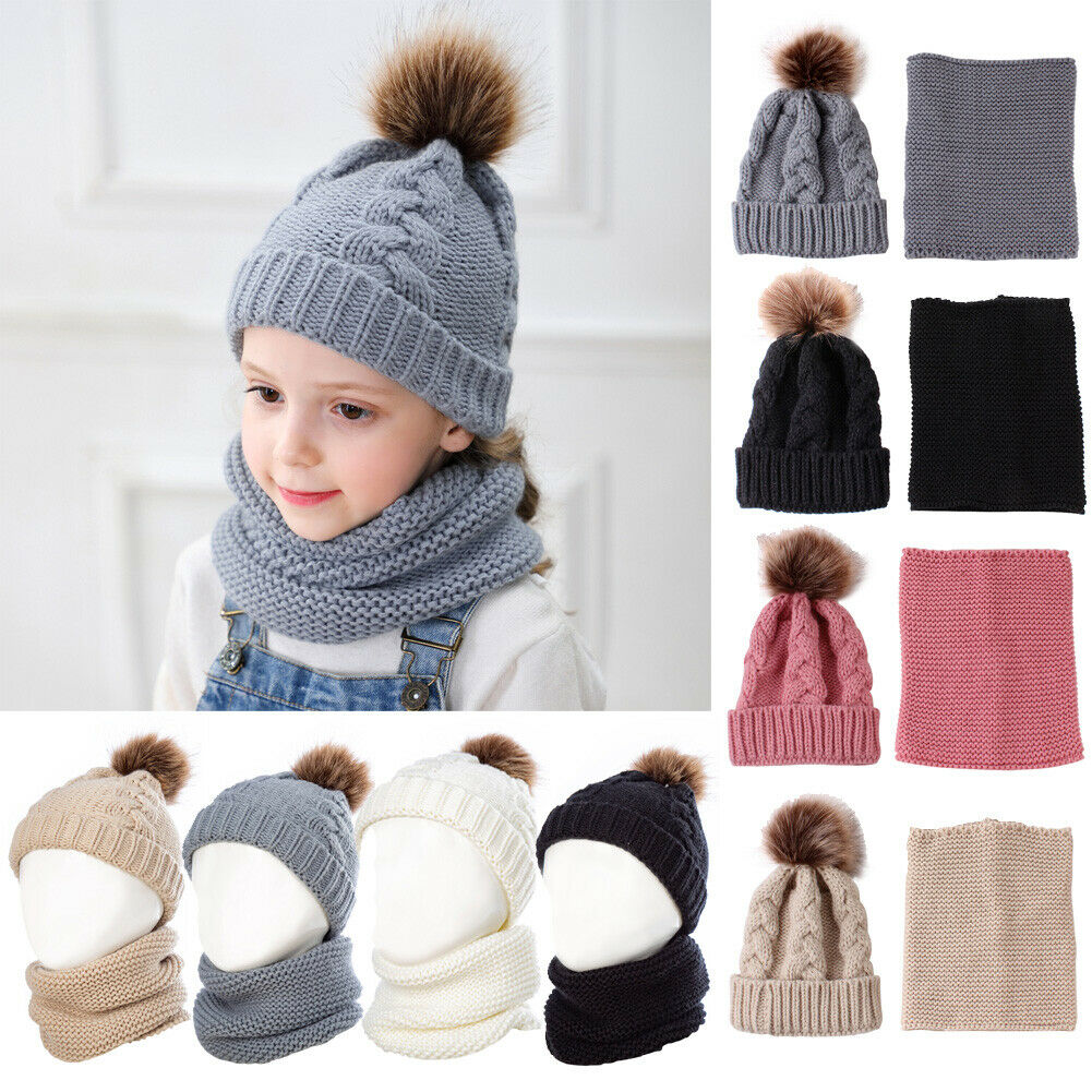 Baby Boys Girls Knitting Wool Scarf And Fur Pom Hat Headgear Accessories Sets