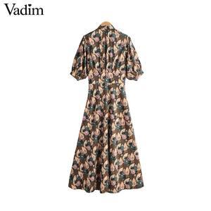 Image 2 - Vadim women retro bow tie collar maxi dress floral pattern short sleeve side zipper female fashion casual dresses vestidos QD088