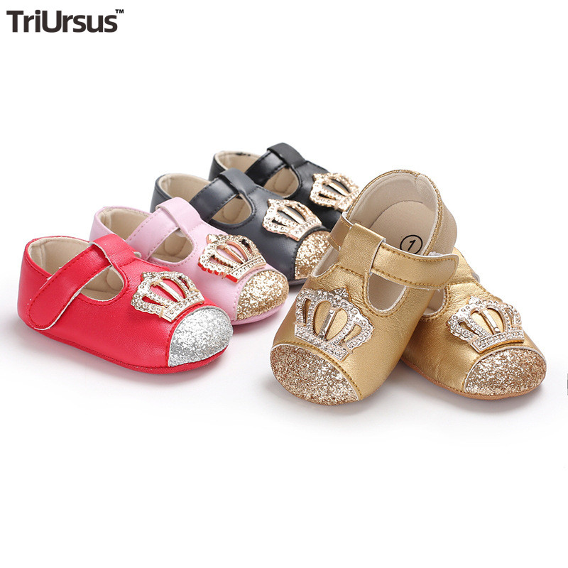 Newborn Baby Girl Crown Princess Shoes 2020 Spring Infant Baby Girl Bling Shoes Crystal Mary Janes Toddler Girl First Walkers
