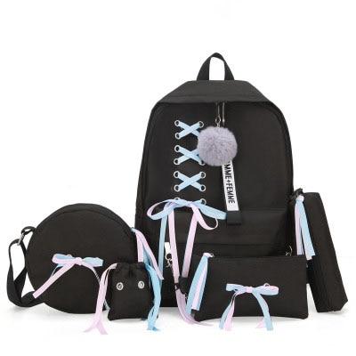 Women Backpack Wild-Large-Capacity Korean-Fashion Bow 5pcs Cover Ribbon-Bow