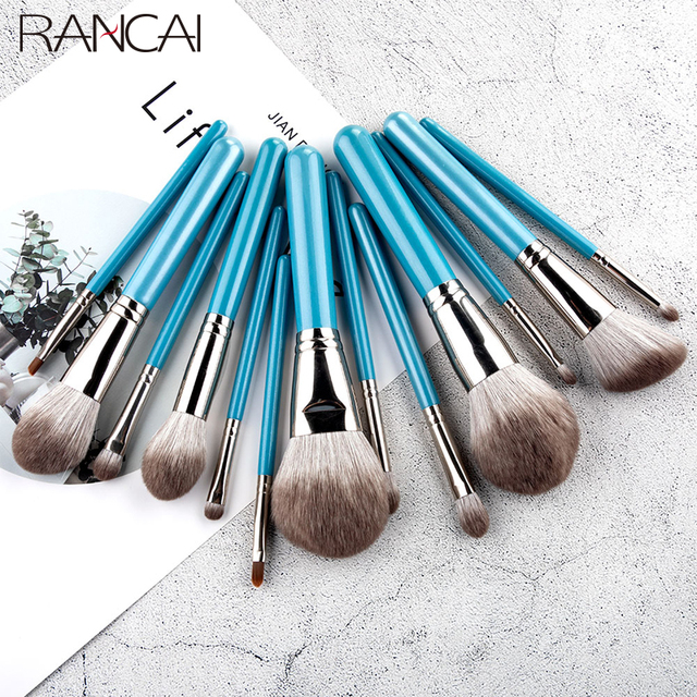 RANCAI 13pcs Makeup Brushes Set  With Leather Bag Foundation Powder Blush Eyeshadow Sponge Brush Soft Hair Cosmetic Tools 4