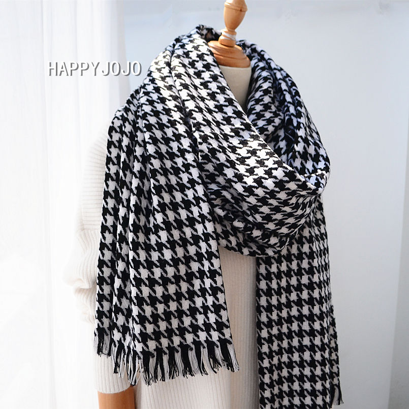 Wool Shawl High Quality Classic Black White Houndstooth Long Scarf Cape Soft Chic Fashion Casual Warm Pashmina For Women Or Lady