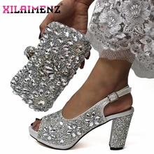 最新のイタリア女性飾るラインストーンマッチングの靴とバッグセットスリヴァー色高品質の靴ためのマッチングのバッグ結婚