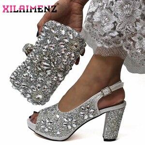 Image 1 - האחרון איטלקי נשים לקשט עם ריינסטון התאמת נעליים וסט תיק רסיס צבע באיכות גבוהה נעלי תואם ד