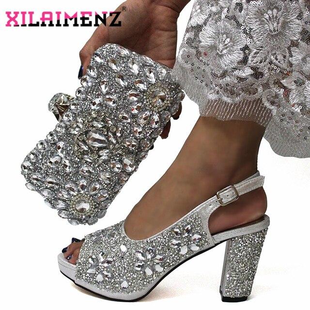 האחרון איטלקי נשים לקשט עם ריינסטון התאמת נעליים וסט תיק רסיס צבע באיכות גבוהה נעלי תואם ד
