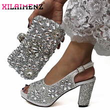 Latest Italian Women Decorate with Rhinestone Matching Shoes and Bag Set in Sliver Color High Quality Shoes Matching Bag For Wed