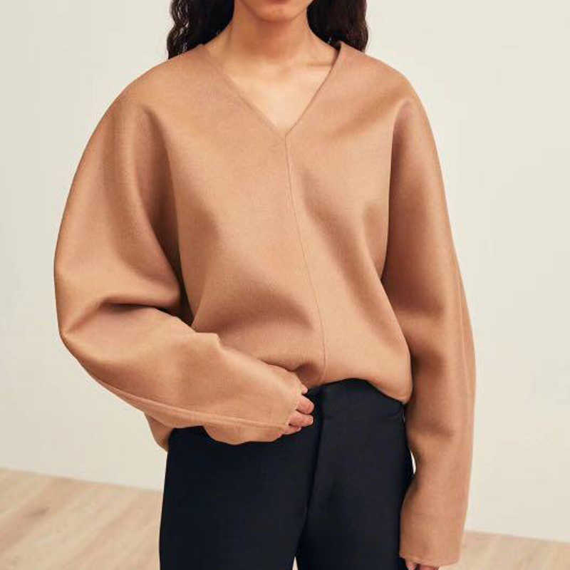 Women Sweater Nordic V-neck Wool and Cashmere Double-faced Coat Normcore Minimalist Style  Cashmere Sweater Women
