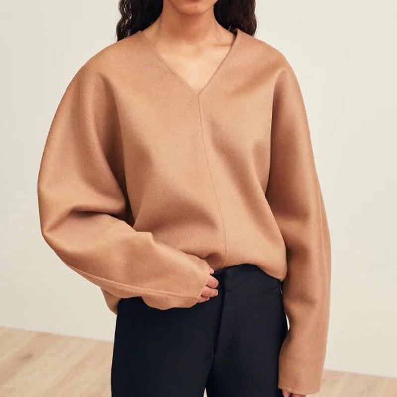 여성 스웨터 북유럽 v 목 양모와 캐시미어 양면 코트 normcore 미니멀 스타일 캐시미어 스웨터 여성-에서풀오버부터 여성 의류 의  그룹 1