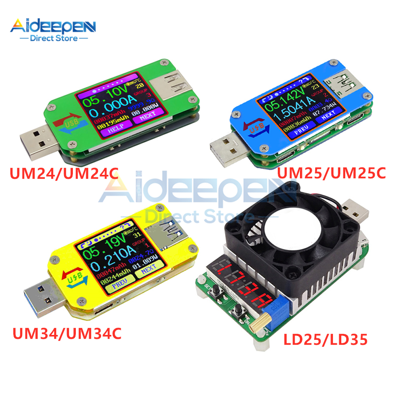 UM24/UM24C UM25/UM25C UM34/UM34C Type-C USB Voltmeter Ammeter Resistance Meter Charging Voltage Current Tester LCD Color Display