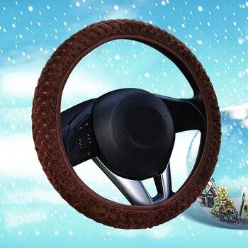 자동 장식 겨울 따뜻한 범용 자동차 스타일링 부드러운 따뜻한 플러시 커버 자동차 스티어링 휠 커버 진주 벨벳