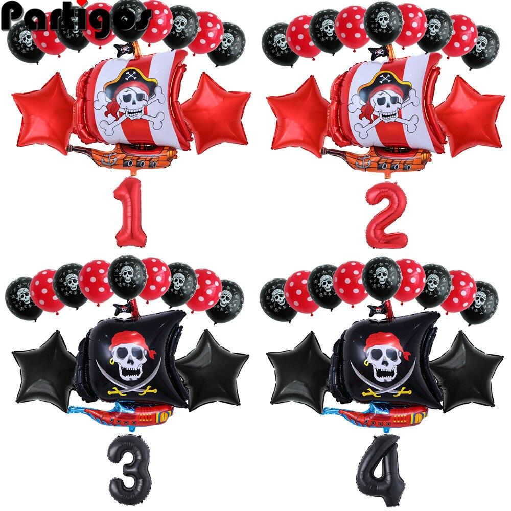 """13 Pçs/set Barco Pirata Balões De Látex Balões 2.8g Crânio 32 """"Número Balão Tema da Festa de Aniversário globos decoração fontes Do Casamento"""