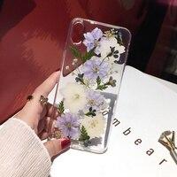 Qianliyao-funda de teléfono con flores secas reales, carcasa suave y transparente con flores para Samsung Galaxy S21, S20, FE, S10, S9, S8 Plus, Note 20, 10 Pro