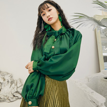 2019 spring and summer new personality fashion French gentle trend green tie bow shirt casual wild thin lantern sleeve