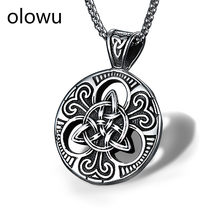 olowu Men's Love Knot Necklace Titanium Stainless Steel Man Women Vintage Silver Black Triquetra Irish Celtic Pendant Neckalces(China)
