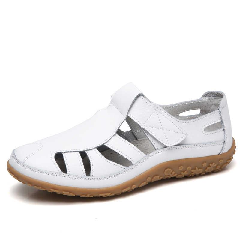 Kadın sandalet hakiki deri 2020 yaz bayanlar rahat yuvarlak ayak ayak bileği Hollow sandalet kadın yumuşak taban sandalet kadın 9568