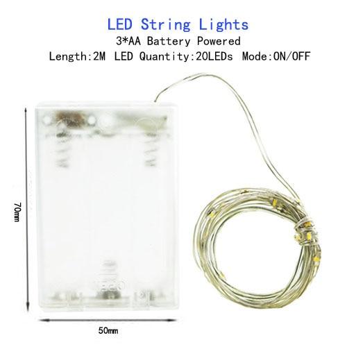 1/2/5/10 M Медный провод светодиодные огни строки праздник освещение гирляндой Рождественский венок для год свадебная вечеринка украшения - Испускаемый цвет: AA Battery-2M