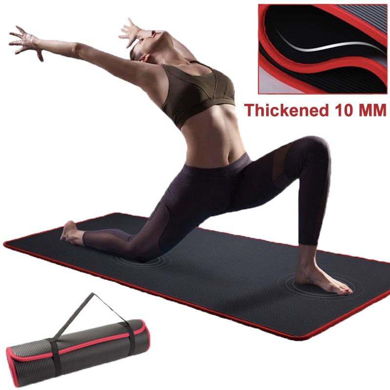 Non-slip Extra Thick 10mm Yoga Mat 183*61cm Men Women Fitness NBR Soft Mat Tasteless Gym Household Exercise Pilates Yoga Matйога