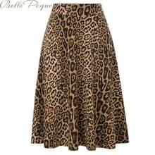 Belle Poque Leopard High Waist Print Skirt Women Stylish Pleated Skirt Snake Faldas Mujer Elastics Casual Midi Skirts Streetwear(China)