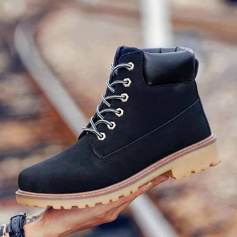 Coturno Zwarte Hoge Top Heren Laarzen Lederen Winter Sneeuw Laarzen Mannen Waterdichte Met Bont Warm Houden Hout Bot Booties Land schoenen