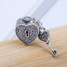 Authentic S925  DIY Jewelry Lock Of Love Bead Charm fit Lady Bracelet Bangle Lave Clear CZ