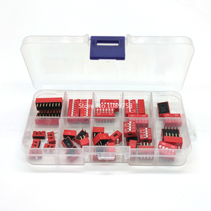 35PCS/LOT Dip Switch Kit 1 2 3 4 5 6 8 Way 2.54mm Toggle Switch Red Snap Switches Mixed Kit Each 5PCS Combination Set In Box(China)