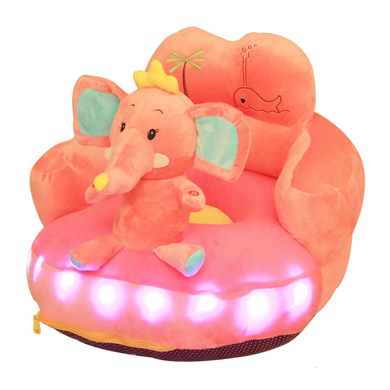 Prevention Fall Cartoon Lovely Animal Backrest Baby Sofa Lazy People Children Small Sofa Glowing Kids Sofa Bean Bag Pink
