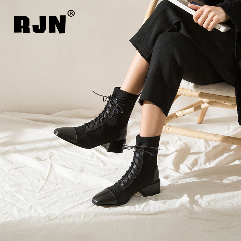 New RJN Elegant Ladies Boots Cow Leather Knitting Comfortable Slip-On Square Toe Med Heel Lace-Up Decoration Women Ankle Boots RO41