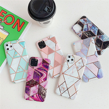 for iPhone 11 Case Luxury Purple Geometric Marble Cover Etui Pro Max 6 6s 7 8 Plus X XR Xsmax TPU Silicone Shell