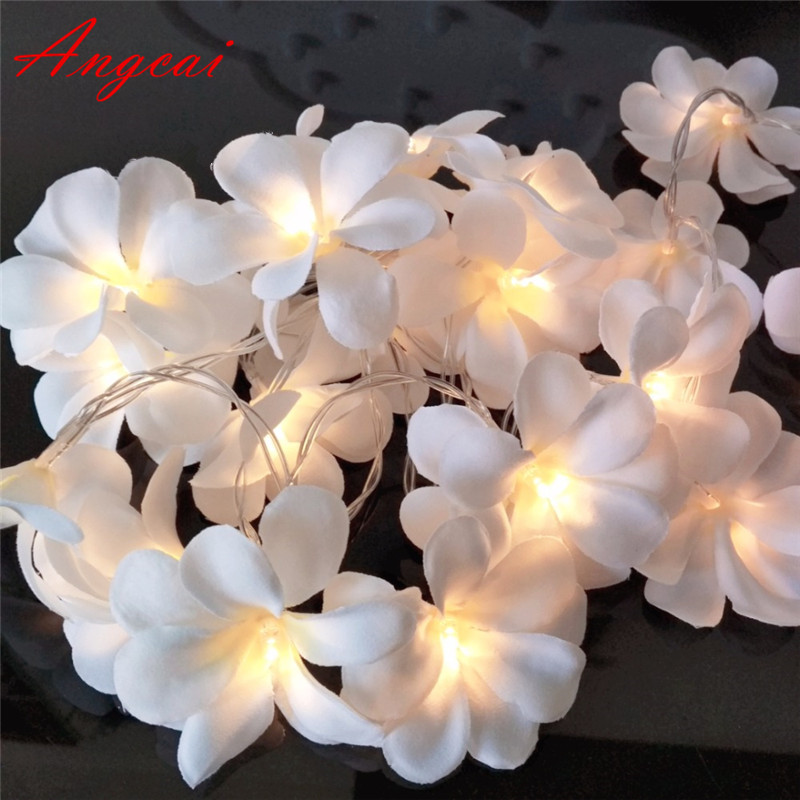 White Pink Violet Cloth Frangipani Floral Wedding Led Battery USB String Lights, Plumeria,garland,party,xmas,bedroom 1/2/3/4M