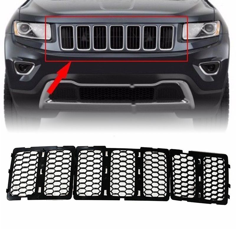 Mayitr 1set Black Mesh Grille Insert Kit Front Grill Cover ABS Plastic For Jeep <font><b>Grand</b></font> <font><b>Cherokee</b></font> 2014-2016 image