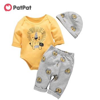 PatPat 2021 Bebe Spring and Autumn Cotton Lion Casual 3 Pieces Baby Set Boy Toddler Cute Bodysuit Pants Hat Suit Clothes - discount item  55% OFF Baby Clothing