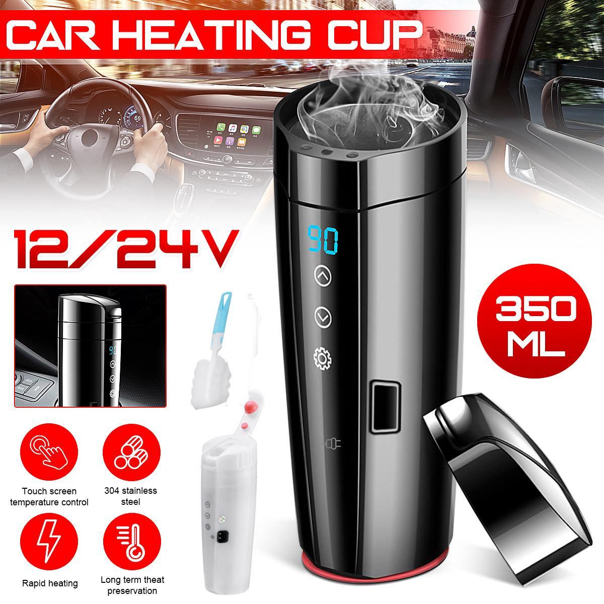 KROAK 450ml Stainless Steel Car Heating Cup 12V/24V Electric Water Cup LCD Display Temperature Kettle Coffee Tea Milk Heated