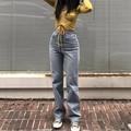 Винтаж Высокая талия джинсы американский Ретро светильник синий Высокая Талия Свободные прямые брюки с широкими штанинами, тонкие длинные ...
